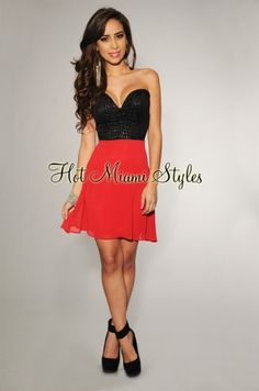 Hot Miami Styles - Black Red Color-Block Sweetheart Neckline Dress - 39.95