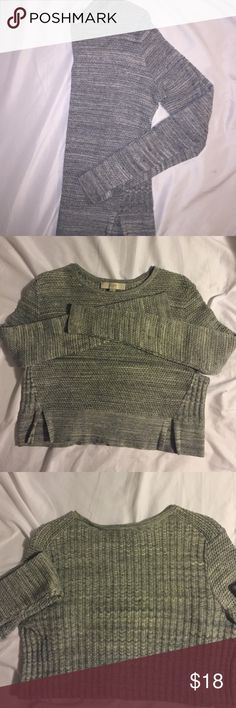Loft Knit Sweater. Excellent condition Grey. Lightweight sweater, perfect for dressing up with a skirt or keeping it laid back with a pair of jeans and flats! Sweaters Crew & Scoop Necks
