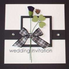 Invitations...A shamrock(Irish) and a thistle(Scotland) with a heart!! So cute!!