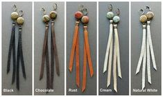 Riciclato in pelle orecchini / Boho orecchini lunghi di Chrysalism