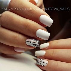 18 Beautiful White Nails Designs for Every Day ★ Geometric White Nails Picture 2 ★ See more: http://glaminati.com/white-nails-designs/ #whitenails #whitenailsdesigns