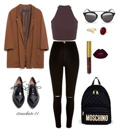 """""""outfit n.1"""" by itsmekate11 on Polyvore featuring River Island, Zara, Miss Selfridge, Jeffrey Campbell, Moschino, Christian Dior and Bling Jewelry"""