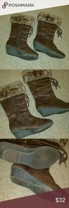 Worn ONCE! Unlisted by Kenneth Cole fur boots!! These are in absolutely PERFECT condition! Only worn once, not in rain or snow! My daughter no longer wants them, going through her winter stuff! The size is 5M! I'm open to offers, I bundle UNDER 5lb packages, NO TRADES!! I'm smoke free, pug friendly, and I typically ship same or next day Kenneth Cole Shoes Boots