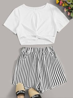 To find out about the Twist Cut Out Tee With Striped Shorts at SHEIN, part of our latest Two-piece Outfits ready to shop online today! Cute Lazy Outfits, Teenage Girl Outfits, Girls Fashion Clothes, Summer Fashion Outfits, Cute Fashion, Pretty Outfits, Stylish Outfits, Girl Fashion, Preteen Fashion