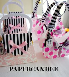 Set of 6 ASSEMBLED- Hobo-Shaped Purse Favor Boxes with Favor Tag by Paper Candee. $25.00, via Etsy.