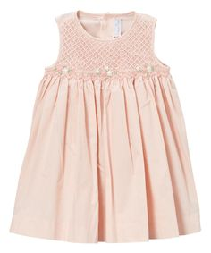 Loving this Peach Embroidered Smocked Dress - Infant & Kids on #zulily! #zulilyfinds