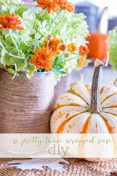 EASY Fall inspired twine wrapped vases make with just three things you probably have in your home! Great for home decor this fall!