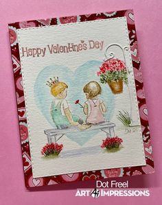 Watercolor Design, Watercolor Paper, Tombow Pens, Art Impressions Stamps, Bunch Of Flowers, Bubblegum Pink, Pink Peonies, My Stamp, Happy Valentines Day