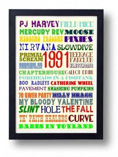 Peel's 1991 Festive 50 Indie Music Typography Art Poster by indieprints