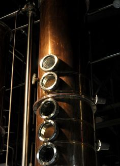 One of the copper stacks of the Middle West Spirits still.