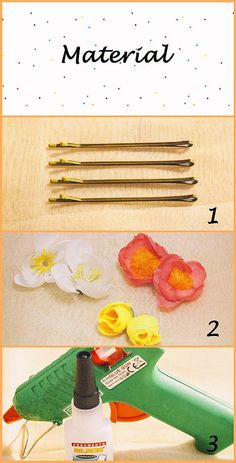 DIY Tutorial horquillas con flores - Sólo 3 materiales // DIY Flowers Hairpin Diy Tutorial, Hair Pins, Flowers, Bobby Pins, The Creation, Floral, Royal Icing Flowers, Florals, Flower