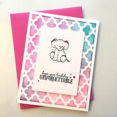 Happy Birthday Card Elephant birthday card Whimsical card