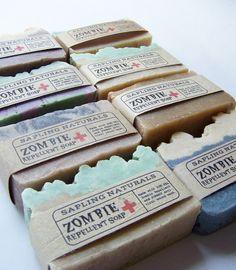 Wholesale Zombie Repellent soap by the dozen by saplingnaturals, $36.00