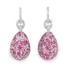 Pair of Diamond and Pink Sapphire Pendant-Earrings