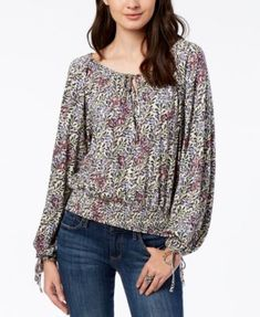77ea7e96f18bf Lucky Brand Smocked Tie-Neck Peasant Top   Reviews - Tops - Women - Macy s
