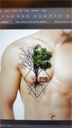 Ideas for geometric tree tattoo color Nature Tattoos, Body Art Tattoos, New Tattoos, Sleeve Tattoos, Tattoos For Guys, Geometric Trees, Geniale Tattoos, Creative Tattoos, Beautiful Tattoos