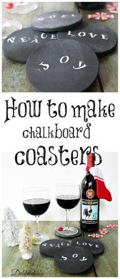 How to make #chalkboard coasters. #diy #upcycle