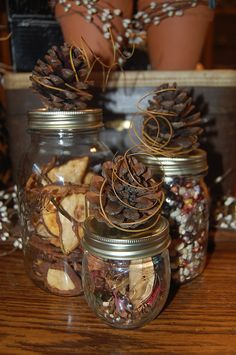 Pinecone Mason Jar Toppers (can fill with small pinecones, river rocks, raffia, dried beans...or even trail mix for a great outdoorsy treat)