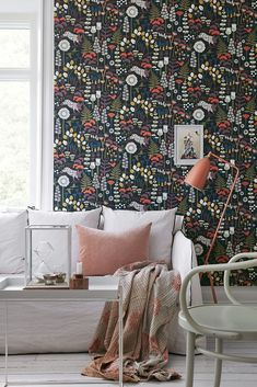 Hoppet Black Folk Wallpaper from the Wonderland Collection by Brewster Home Fashions