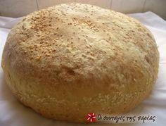 Ψωμί χωριάτικο μερακλίδικο....100% Bread Bun, Bread Cake, Yummy Food, Tasty, Cooking Recipes, Healthy Recipes, Bread And Pastries, Dinner Rolls, Greek Recipes