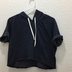 Hollister Navy Cropped Hoodie No trades Hollister Sweaters