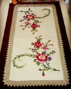 Details about Beautiful Vintage Hand Embroidered Counted Cross Stitch Tablecloth 100 Cross Stitch Borders, Cross Stitch Rose, Cross Stitch Flowers, Cross Stitch Designs, Cross Stitching, Cross Stitch Patterns, Cutwork Embroidery, Cross Stitch Embroidery, Herringbone Stitch