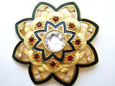 Camrose & Kross Jacqueline Jackie Kennedy Enamel Crystal Vintage Brooch In Box #GaleRothstein
