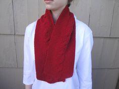 Short Red Scarf in Merino Wool Hand Knit Women & Teen by Girlpower