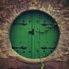 Moon gate green door & Orange Moon Door