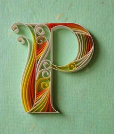 Paper quilling letters is one of the best way to use quilling ideas to make beautiful letters and patterns.Sabeena Karnik paper quilling is popular. Arte Quilling, Quilling Letters, Quilling Designs, Paper Quilling, Paper Letters, Quiling Paper, Origami Paper, Paper Art, Paper Crafts