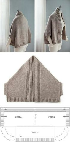 """Vest-poluponcho (patrón) / punto / """"Love this pattern! Adapt to sew, or your favorite knit or crochet stitch…"""", """"nice easy shape with a nice warm result Gilet Crochet, Knitted Shawls, Crochet Shawl, Knit Crochet, Crochet Stitch, Easy Crochet, Beginner Crochet, Tutorial Crochet, Modern Crochet"""