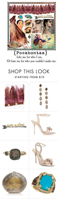 """""""Pocahontas"""" by belladicaprio ❤ liked on Polyvore featuring Boohoo, Saqqara, Thirstystone, Elie Saab, Sophia Webster, From St Xavier, LE VIAN, Gowns and pocahontas"""