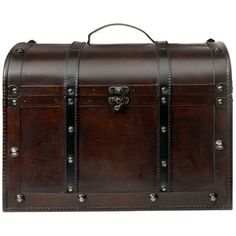 Medium sized wooden chest with two imitation black leather strips and carry handle. Wooden Chest, Decoration, Storage Chest, Suitcase, Decorative Boxes, Sweet Home, Leather, Home Decor, Dimensions