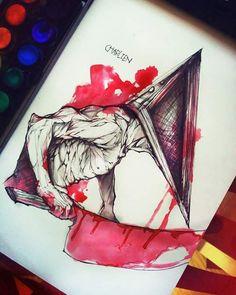 2,5 hour Pyramid head drawing - watercolor Silent Hill Art, Pyramid Head, Predator Alien, The Evil Within, Gears Of War, King Of Fighters, Online Gratis, Dark Souls, Mortal Kombat
