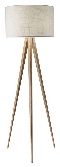 Features:  -Base finish is natural wood.  -It has an urban style.  -3-way rotary socket switch.  -Off-white textured linen.  Base Finish: -Natural.  Material: -Manufactured wood/Metal.  Hardware Mater #FloorLamp