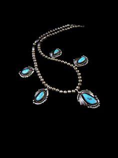 45g Vintage Navajo Sterling Silver Squash Blossom Pendant Necklace w 5 Luminous Blue Gem Turquoise! Fabulous Vintage Piece!
