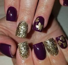 Sparkle Gold | Leaves and Pumpkins Nail Decals | Fall Nails | Plum Nails | Gold Nails | Leave Nail Art | Fall Nail Designs | Nail Decals  Shop Nail Decals  weloveglitterdesign.com