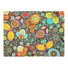 Red Yellow Aqua Vintage Floral Pattern Cotton Linen Tablecloth 52