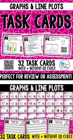 Graphs & Line Plots Task Cards: Review, Test Prep, Scoot Game, Math Centers