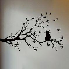 Kat in boom muursticker geeft je kamer een natuurlijke & luxe sfeer. Met deze Kat in Boom Muursticker tover je je kamer eenvoudig om tot een natuurlijk & luxe