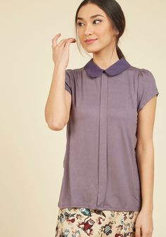 Perfected Polish Knit Top in Purple, #ModCloth