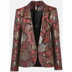 Metallic Jacquard Blazer ($140) ❤ liked on Polyvore