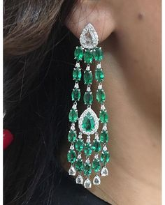 Emerald Earrings by @sutrajewels #Bjc #Sutra #JewelleryArabia2016
