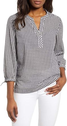 Women& Vineyard Vines Gingham Savannah Top, S. Casual Tops For Women, Casual Shirts For Men, Very Short Dress, Short Dresses, Sewing Blouses, Short Tops, Blouse Designs, Shirt Blouses, Vineyard Vines