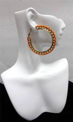R.J. Graziano Women's Gold Tone Hoop Orange Ribbon Trim Earrings NWT #RJGraziano #Hoop