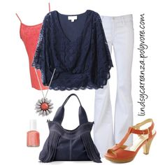Coral and Navy, created by lindsycarranza on Polyvore