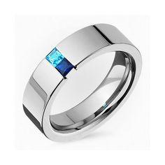 New Mens Titanium Sapphire Tension Set Promis Wedding Band Polish Finished Ring
