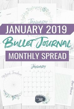 January Bullet Journal Monthly Spread - this layout for January 2019 has flower watercolor vibes and was set up to make an easy bullet journal printable Bullet Journal Cheat Sheet, Bullet Journal Page, January Bullet Journal, Bullet Journal Monthly Spread, Bullet Journal How To Start A, Bullet Journal Inspiration, Journal Ideas, Journal Themes, Journal Prompts