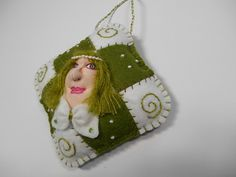 Pearls Doll Ornament for Christmas  OOAK ORNAMENT by MountainDolls