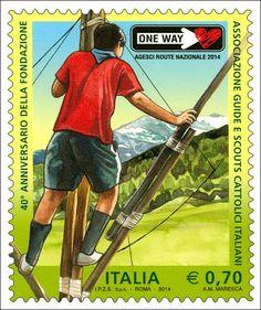 Francobollo celebrativo della Associazione Guide e Scouts Cattolici Italiani, nel 40° anniversario della fondazione